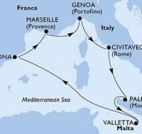 7 Noches por Italia, Malta, España, Francia a bordo del MSC Meraviglia
